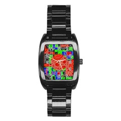 Background With Fractal Digital Cubist Drawing Stainless Steel Barrel Watch
