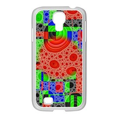 Background With Fractal Digital Cubist Drawing Samsung GALAXY S4 I9500/ I9505 Case (White)