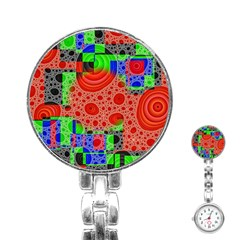Background With Fractal Digital Cubist Drawing Stainless Steel Nurses Watch