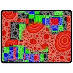 Background With Fractal Digital Cubist Drawing Double Sided Fleece Blanket (Large)