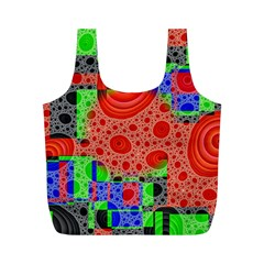 Background With Fractal Digital Cubist Drawing Full Print Recycle Bags (M)
