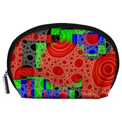 Background With Fractal Digital Cubist Drawing Accessory Pouches (Large)