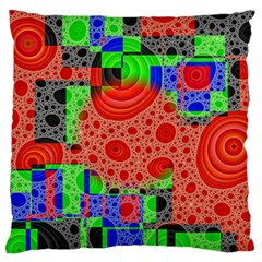 Background With Fractal Digital Cubist Drawing Large Flano Cushion Case (One Side)