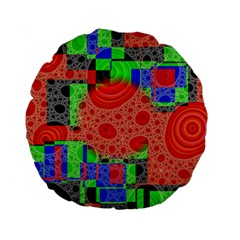 Background With Fractal Digital Cubist Drawing Standard 15  Premium Flano Round Cushions