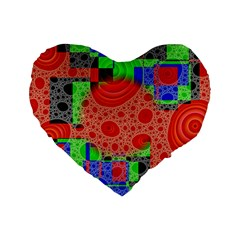 Background With Fractal Digital Cubist Drawing Standard 16  Premium Flano Heart Shape Cushions