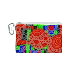 Background With Fractal Digital Cubist Drawing Canvas Cosmetic Bag (S)
