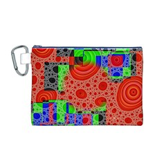 Background With Fractal Digital Cubist Drawing Canvas Cosmetic Bag (M)