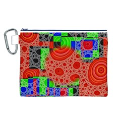 Background With Fractal Digital Cubist Drawing Canvas Cosmetic Bag (L)