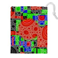 Background With Fractal Digital Cubist Drawing Drawstring Pouches (xxl)