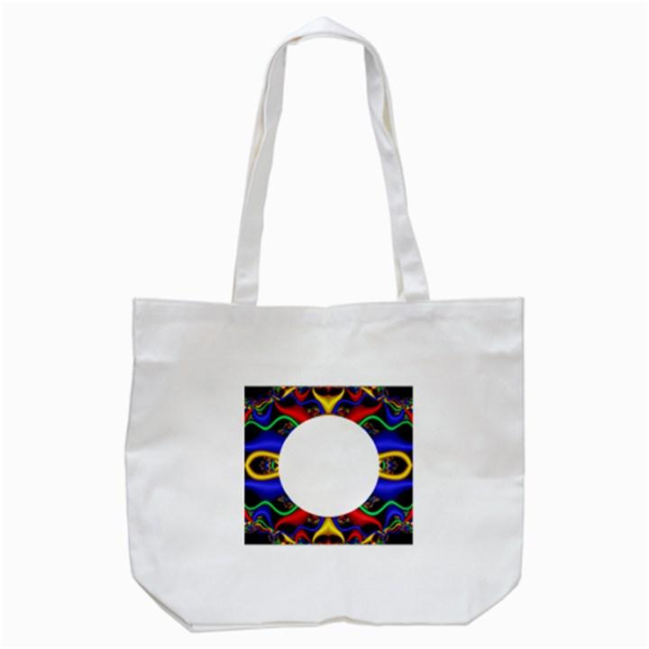 Symmetric Fractal Snake Frame Tote Bag (White)