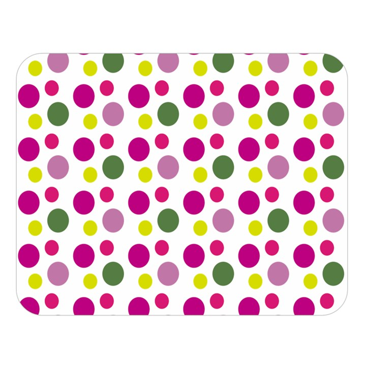 Polka Dot Purple Green Yellow Double Sided Flano Blanket (Large)
