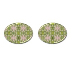 Digital Computer Graphic Seamless Wallpaper Cufflinks (Oval)
