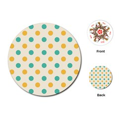 Polka Dot Yellow Green Blue Playing Cards (round)