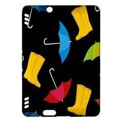 Rain Shoe Boots Blue Yellow Pink Orange Black Umbrella Kindle Fire Hdx Hardshell Case