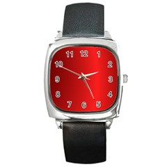 Red Gradient Fractal Backgroun Square Metal Watch
