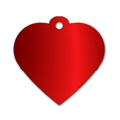 Red Gradient Fractal Backgroun Dog Tag Heart (two Sides)