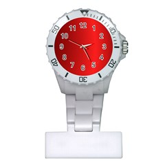 Red Gradient Fractal Backgroun Plastic Nurses Watch