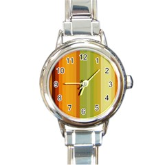 Colorful Citrus Colors Striped Background Wallpaper Round Italian Charm Watch