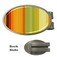 Colorful Citrus Colors Striped Background Wallpaper Money Clips (Oval)