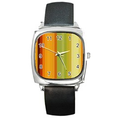 Colorful Citrus Colors Striped Background Wallpaper Square Metal Watch