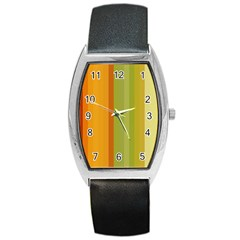 Colorful Citrus Colors Striped Background Wallpaper Barrel Style Metal Watch