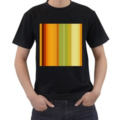 Colorful Citrus Colors Striped Background Wallpaper Men s T Shirt (black) (two Sided)