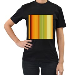 Colorful Citrus Colors Striped Background Wallpaper Women s T Shirt (black) (two Sided)