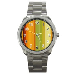 Colorful Citrus Colors Striped Background Wallpaper Sport Metal Watch