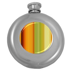 Colorful Citrus Colors Striped Background Wallpaper Round Hip Flask (5 oz)