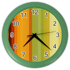 Colorful Citrus Colors Striped Background Wallpaper Color Wall Clocks
