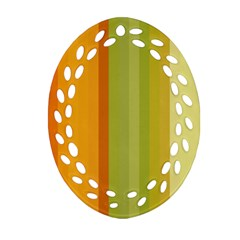 Colorful Citrus Colors Striped Background Wallpaper Ornament (Oval Filigree)