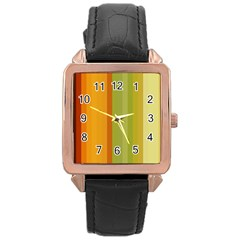 Colorful Citrus Colors Striped Background Wallpaper Rose Gold Leather Watch