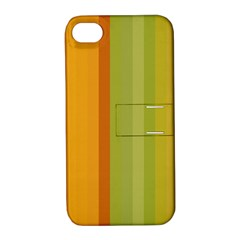 Colorful Citrus Colors Striped Background Wallpaper Apple iPhone 4/4S Hardshell Case with Stand