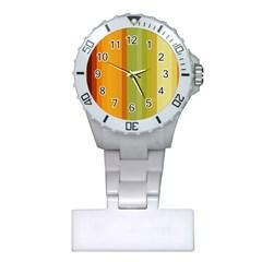 Colorful Citrus Colors Striped Background Wallpaper Plastic Nurses Watch