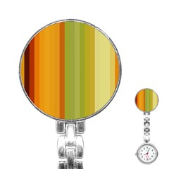 Colorful Citrus Colors Striped Background Wallpaper Stainless Steel Nurses Watch
