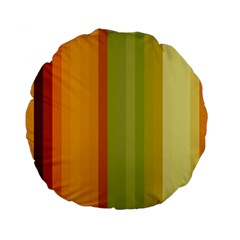 Colorful Citrus Colors Striped Background Wallpaper Standard 15  Premium Flano Round Cushions