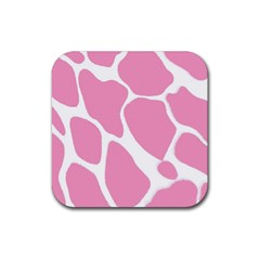 Baby Pink Girl Pattern Colorful Background Rubber Coaster (square)