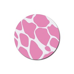 Baby Pink Girl Pattern Colorful Background Rubber Coaster (Round)
