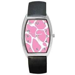 Baby Pink Girl Pattern Colorful Background Barrel Style Metal Watch