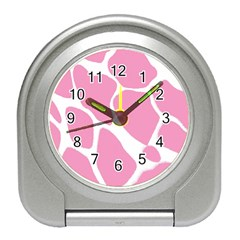 Baby Pink Girl Pattern Colorful Background Travel Alarm Clocks