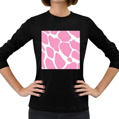 Baby Pink Girl Pattern Colorful Background Women s Long Sleeve Dark T Shirts