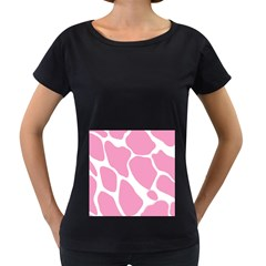Baby Pink Girl Pattern Colorful Background Women s Loose-Fit T-Shirt (Black)