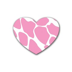 Baby Pink Girl Pattern Colorful Background Rubber Coaster (heart)