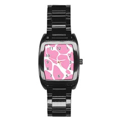 Baby Pink Girl Pattern Colorful Background Stainless Steel Barrel Watch