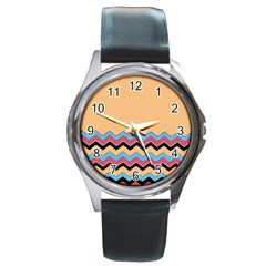 Chevrons Patterns Colorful Stripes Background Art Digital Round Metal Watch