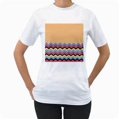 Chevrons Patterns Colorful Stripes Background Art Digital Women s T-Shirt (White) (Two Sided)