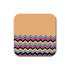 Chevrons Patterns Colorful Stripes Background Art Digital Rubber Square Coaster (4 Pack)