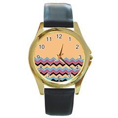 Chevrons Patterns Colorful Stripes Background Art Digital Round Gold Metal Watch