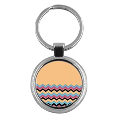 Chevrons Patterns Colorful Stripes Background Art Digital Key Chains (round)