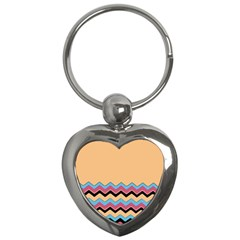 Chevrons Patterns Colorful Stripes Background Art Digital Key Chains (Heart)